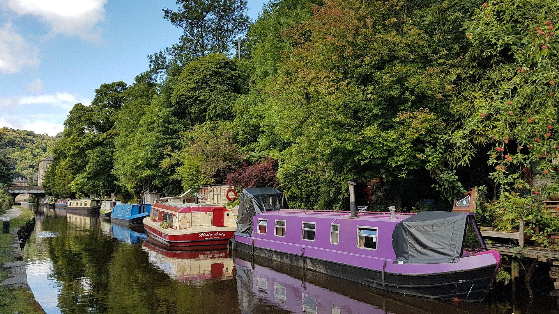 narrowboats on canal