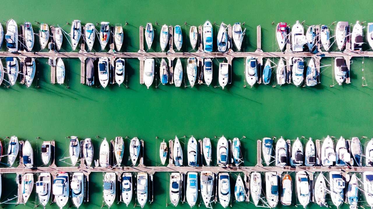 motor yachts on marina