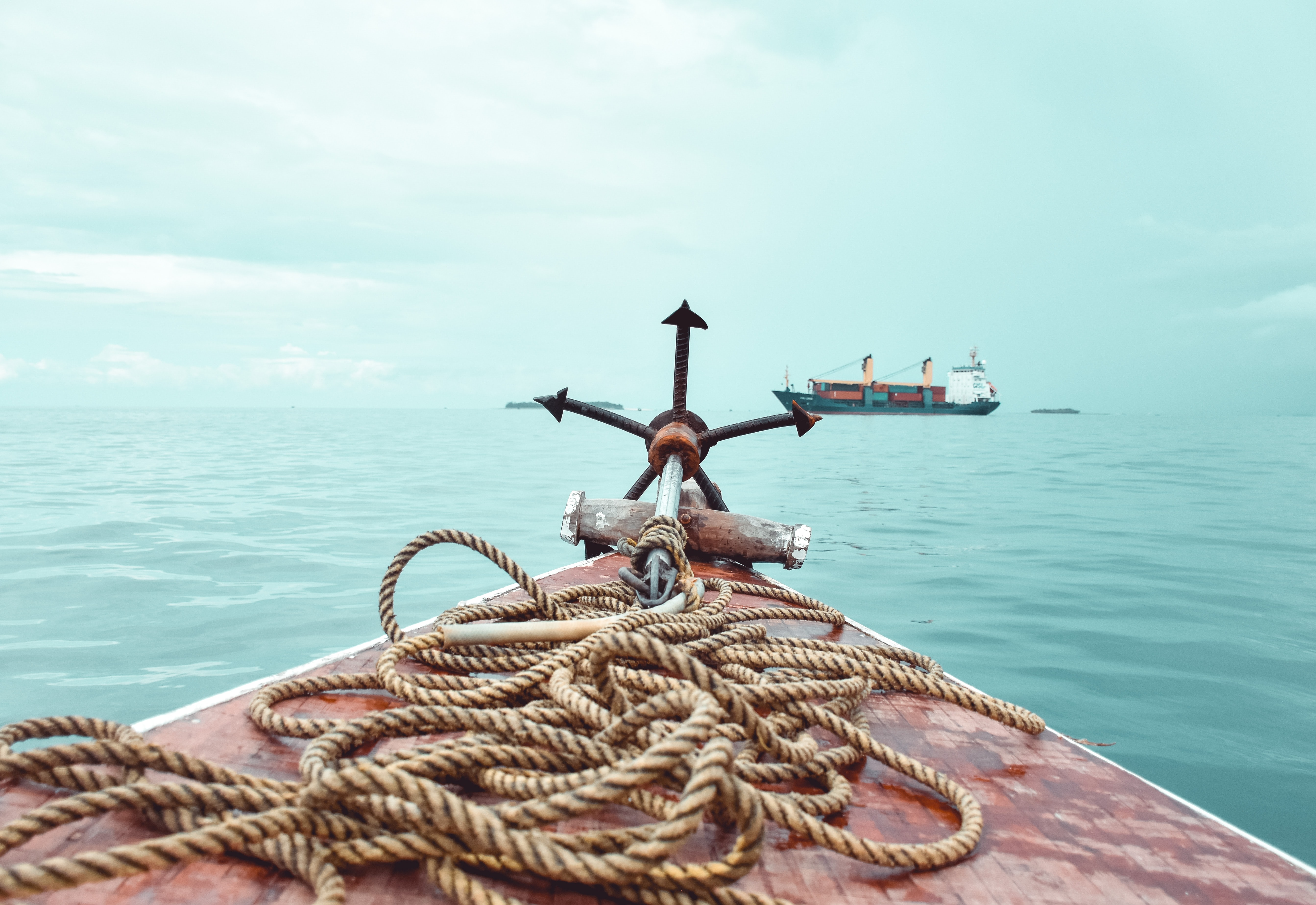 rope and anchor on deck