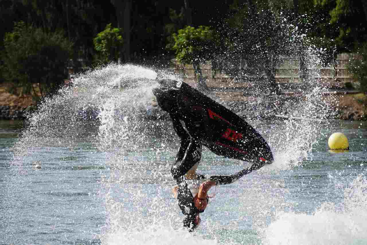 person on a jet ski mid air