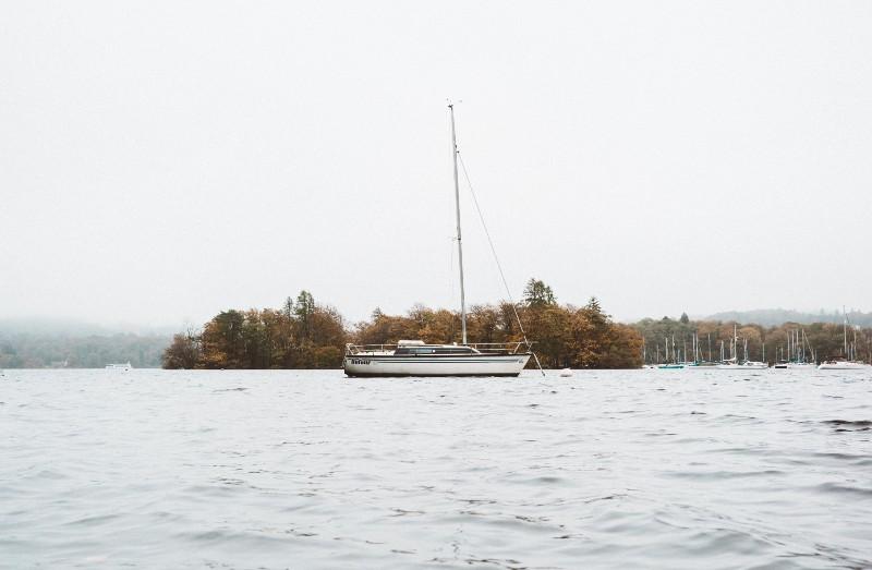 sailing yacht on lake windermere